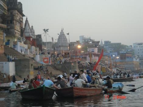 Pilgrims & Tourists on Boat Ride River Ganges