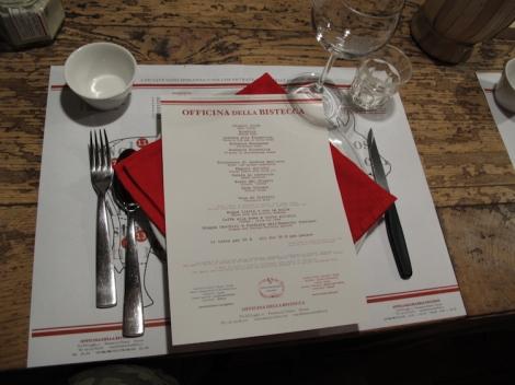 the menu of officina della bistecca