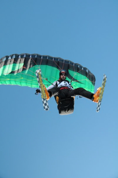 parapente with skis