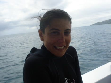 happy but tired diver